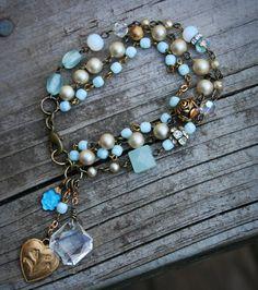 Blue Heaven Vintage Rosaries Triple Strand by labellesavage