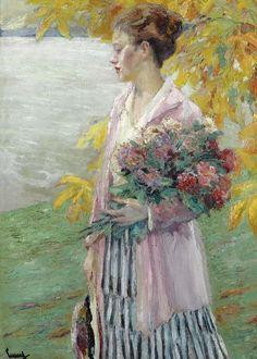The Athenaeum - An Autumn Walk Edward Cucuel (American, American Impressionism, Post Impressionism, Whistler, Autumn Walks, European Paintings, Contemporary Paintings, American Artists, Love Art, Female Art