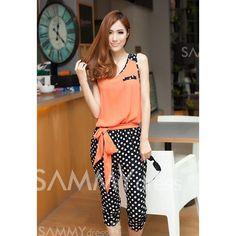 Trendy Color Block Polka Dot Print Splice Slimming Summer Jumpsuit For Women