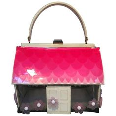Preowned Vintage Rare Moschino Patent Leather House Handbag ($850) ❤ liked on Polyvore featuring bags, handbags, multiple, pink patent leather purse, hand bags, man bag, vintage patent leather purse and pink handbags