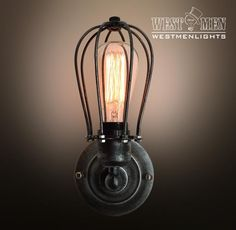 Westmenlights New Vintage Industrial Wall Lamp Sconce/Black Cage Light Bulb Guard Stair 300MM