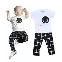 Bobo Choses baby boy clothing set brand balloon Smile short t-shirt + grid pant baby girl clothes boy clothing set ropa infantil