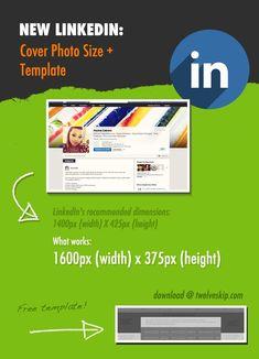 New Linkedin Profile: Header Background Size + Template -- LinkedIn's new profile design: cover photo size template http://www.twelveskip.com/tutorials/linkedin/1294/linkedin-header-background-size-template