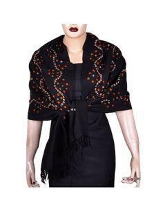 Grande écharpe noire en laine motifs imprimés - Mode femme: Amazon.fr: Vêtements et accessoires