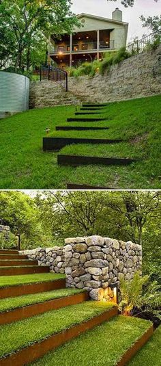 Garden stairs are less formal than indoor stairs, so you don't need to follow precise measurements and you can DIY them according to your likes and the theme of the garden. The most popular material for building stairs is the stone. Stone steps and stairs look natural and free forming. Besides the natural stone, rustic wood, concrete blocks and railway..