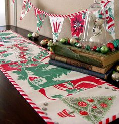 Christmas Vintage Tablecloth made into a Table Runner &  Banner :: Christmas Crafts : DIY : You Can Make This! : Christmas Decorations Decorating Decor : from Into Vintage