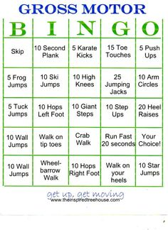 GROSS MOTOR ACTIVITIES: BINGO ON THE GO! [some ideas - you could make up your own activities. play bingo or put slips in a jar & choose one when you need an idea! -lm] Handwriting for kids motor skills. Physical Activities For Kids, Gross Motor Activities, Movement Activities, Gross Motor Skills, Sensory Activities, Therapy Activities, Fitness Activities, Proprioceptive Activities, Sensory Tubs