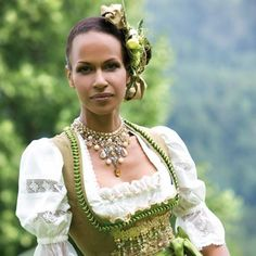 Gorgeous, sophisticated shades of earthy green. #dirndl #German #Austrian #traditional #folk #costume #dress #tracht