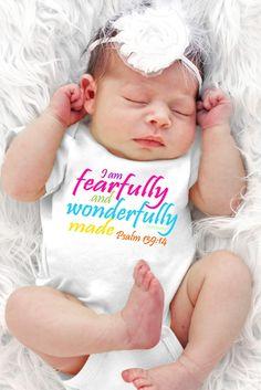 FaithBaby.com | Fearfully and Wonderfully White Baby onesie
