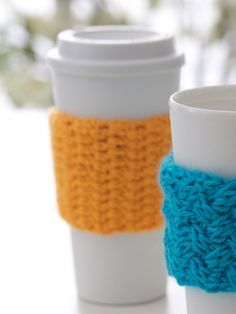 FREE Coffee-on-the-go Crochet Cozy Pattern. Download now on LoveCrochet.com!