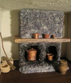 Rustic dollhouse kitchen fireplace - I really like the surface of the fireplace - I'm thinking a stone slurry - for dollhouse, miniatures, fairy garden