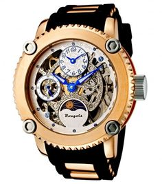49221b0323d Rougois 3286M-RGS-1 Two Time Zone Day-Night Dial Mechanical Skeleton Watch  For Men