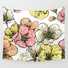 Colorful Poppies Wall Tapestry by MIKART | Society6