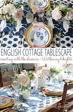 Beautiful for entertaining, here's an English cottage tablescape in navy blue and white fabric created by @findinghome/