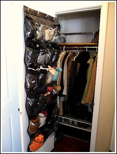 Shoe organizer to organize winter hats, gloves, and scarves.