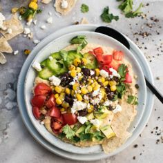 Take store-bought hummus to the next level with this Loaded Southwestern Hummus, topped with corn, beans, avocado and more. Butterscotch Haystacks, Hummus, Cobb Salad, Glutenfree, Meal Prep, Avocado, Beans, Vegetarian, Chicken