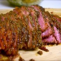 roasted corned beef brisket-used recipe for rub and put on Traeger Pork Brisket, Beef Brisket Recipes, Meat Recipes, Cooking Recipes, Baked Corn Beef Brisket Recipe, Irish Recipes, Meat Meals, Scottish Recipes, Gourmet