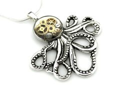 Small Silver Octopus Necklace  Clockworks Octopus  by SteamSect