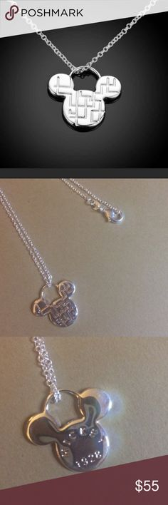 "Sterling Silver Mickey Mouse Charm Necklace A timeless symbol of fun, love, family and never forgetting your inner child, this gorgeous Mickey Mouse solid sterling silver charm necklace is the perfect piece for any Disney lover!!! Stamped 'Mickey 1928"" on back.  16"" sterling silver chain. Disney Jewelry Necklaces"