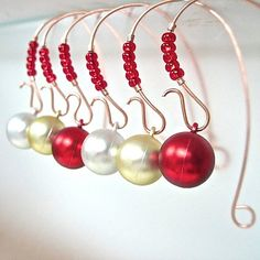 Christmas Tree Ornament Hangers Bright Red by RoughMagicHolidays