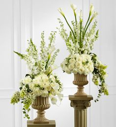 Wedding Flowers and Bridal Bouquets - The FTD Classic White Arrangement - Use Stargazer Lilies instead of roses. Altar Flowers, Church Flowers, Funeral Flowers, White Wedding Flowers, White Flowers, Floral Wedding, Beautiful Flowers, Trendy Wedding, Wedding White
