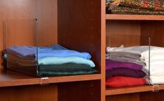 Clear shelf dividers to prevent your shirt stacks from toppling over.
