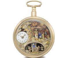 Relógios exixtem há muito tempo mas foi o Seculo XIX que os popularizou. Tempo é dinheiro. Controlar os horários dos empregados, os atrasos, o recebimento de mercadorias.. Os homens usavam os relógios de bolso, como esse. Early nineteenth-century Ducommun automata pocket watch