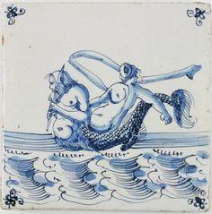 Antique Dutch Delft tile with a merman and Fortuna, century Delft Tiles, Blue Tiles, Mosaic Tiles, Antique Tiles, Tile Murals, Mermaids And Mermen, Merman, Mythological Creatures, 17th Century