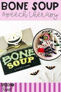Bone Soup is a wonderful book for Halloween themed speech-language therapy! This read aloud can be used to address sequencing, inferencing, vocabulary, social skills, and more! #speechtherapy #languagetherapy #readalouds #picturebooks #halloween