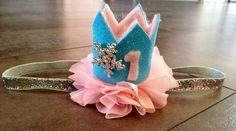 Winter onederland birthday crown headband pink by KenzeesKloset