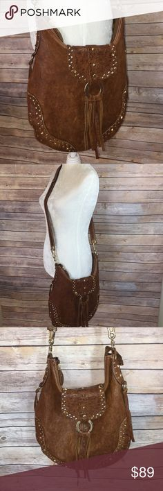 Nardelli genuine leather hobo crossbody bag Brown genuine leather crossbody bag. Inside zipper pocket and cell phone pocket. Zipper enclosure. Adjustable straps leather fringe strap with gold studs. Made in Italy Bags Crossbody Bags