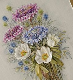 Wonderful Ribbon Embroidery Flowers by Hand Ideas. Enchanting Ribbon Embroidery Flowers by Hand Ideas. Ribbon Embroidery Tutorial, Silk Ribbon Embroidery, Rose Embroidery, Learn Embroidery, Embroidery Stitches, Embroidery Patterns, Embroidery Supplies, Embroidery Materials, Machine Embroidery