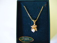 Genuine Cultured Pearl and Diamond Chip Necklace by parkledge, $45.00