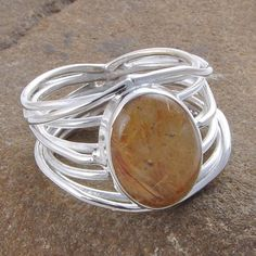 GOLDEN RUTILE 925 STERLING SILVER 6.92g EXCLUSIVE RING R01285 #Handmade #GEMSTONERING