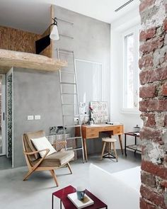 """468 Synes godt om, 7 kommentarer – S T I L T J E (@stiltje.se) på Instagram: """"Also for the small apartments. Look at this cool small flat with ciment walls and flooring. And the…"""""""