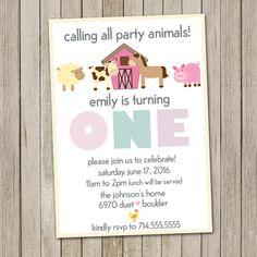 Girl Barnyard Birthday Invitation Petting Zoo by ScrapbookStyle