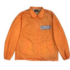 RESTRICTED COACH JACKET -ORANGE- ($135) ❤ liked on Polyvore featuring outerwear, jackets, orange jacket and coach jacket