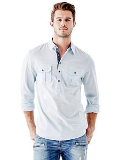ce34b4fe290ec Military Regular-Fit Popover Shirt at Guess Guess Shirt, Chef Jackets, Polo  Ralph
