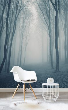 Get lost in the woods with this eerily beautiful forest mural. Hazy greys help to create a dream-like feel to your home, and delivers a neutral yet calming colour scheme. Compliment with white furnishings and fabrics to complete the look.