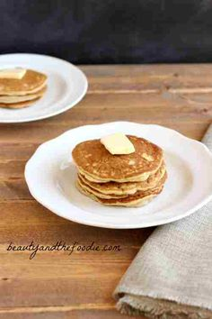 "Paleo ""Buttermilk"" Pancakes. Grain free, low carb and gluten free with dairy free buttermilk. beautyandthefoodie.com"