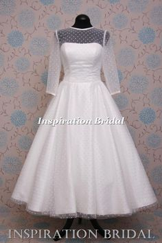 1587 short wedding dresses tea knee length polka dot tulle full skirt sleeves UK in Clothes, Shoes & Accessories, Wedding & Formal Occasion, Wedding Dresses | eBay
