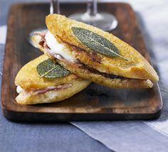 Mini saltimbocca sandwiches: A tasty morsel to whet your appetite as a canapé or nibble with a glass of fizz- perfect bite-sized party food