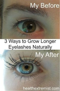 3 Ways to Grow Longer Eyelashes Naturally - My lashes were longer in 3 months! You can grow longer eyelashes naturally and see results in less than a month! No need to apply harmful glues and fake lashes when you can grow your lashes! Natural Beauty Tips, Health And Beauty Tips, Natural Hair Styles, Health Tips, Healthy Beauty, How To Grow Eyelashes, Longer Eyelashes, Thicker Eyelashes, Beauty Care