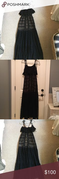 Jen's Pirate Booty black lace maxi dress Beautiful black lace maxi with ruffled empire waist AND flattering drop waist. Nude liner under lace, stops at drop waist hem. So flattering. Bought this to wear to wedding but ended up going with a short dress and they don't take returns. 😫 Long adjustable tie shoulder straps makes shoulders look so pretty!! Jen's Pirate Booty Dresses Maxi