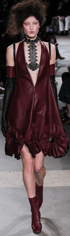 burgundy merlot red wine leather Alexander McQueen FW2015 | Purely Inspiration