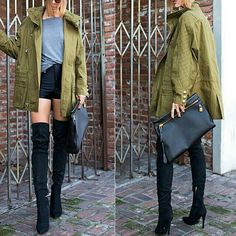 Casual outfit over the knee boots