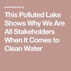 This Polluted Lake Shows Why We Are All Stakeholders When It Comes to Clean Water
