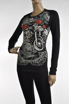 STYLE # 1801; LONG SLEEVE SHIRT WITH MOTORCYCLE WITH WINGS AND RED ROSES