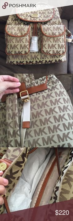 NWT Michael Kors backpack Canvas with leather trim & tassels. Michael Kors Bags Backpacks