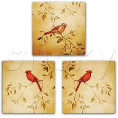 Canvas print RED SPAROWS by Sticky!!!